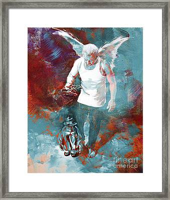 Framed Print featuring the painting Puppet Man 003 by Gull G