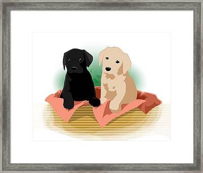 Puppy Basket Framed Print
