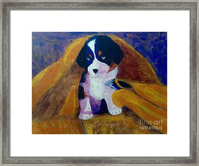 Framed Print featuring the painting Puppy Bath by Donald J Ryker III