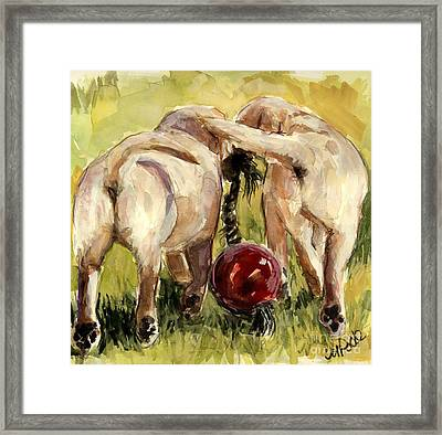 Framed Print featuring the painting Puppy Butts by Molly Poole