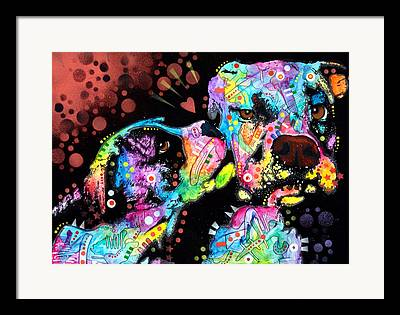 Boxer Dog Mixed Media Framed Prints