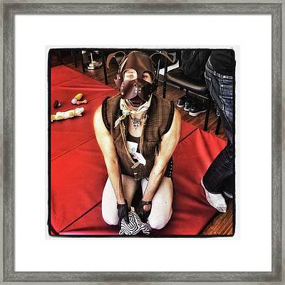 Framed Print featuring the photograph Puppy Play. Human Canine Training by Mr Photojimsf