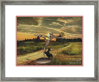 Puppy Playing With A Zombie Framed Print by Pemaro