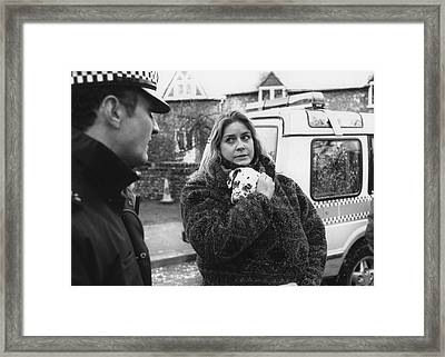 Puppy Police Protection Framed Print by Christopher Purcell