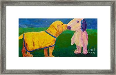 Framed Print featuring the painting Puppy Say Hi by Donald J Ryker III