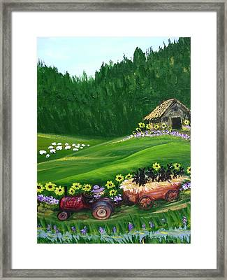 Pups First Hayride Framed Print by Laura Johnson