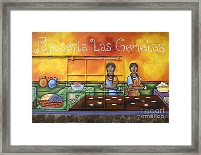 Pupusa Twins El Salvador Framed Print