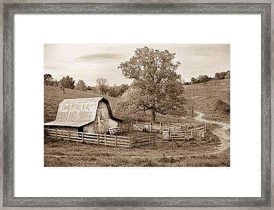 Pure Arkansas In Sepia Framed Print