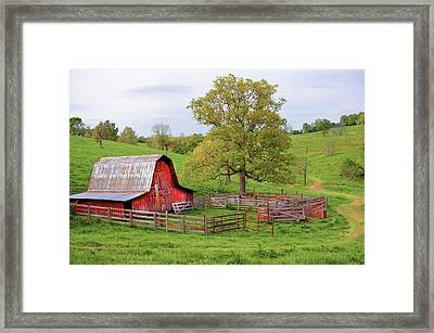 Framed Print featuring the photograph Pure Arkansas - Red Barn by Gregory Ballos