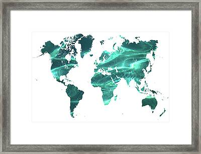 Pure Ocean Worldly Map 1 Framed Print by Jenny Rainbow