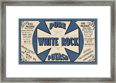 Pure White Rock Potash Vintage Product Label Framed Print by Edward Fielding
