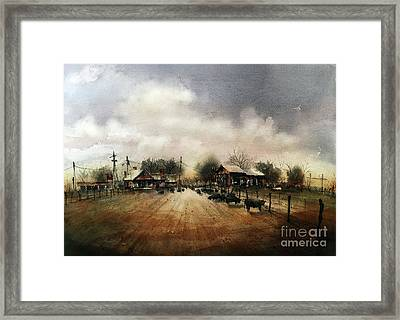 Purebred Herd In The Home Pasture Framed Print by Tim Oliver