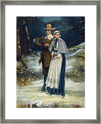 Puritans Going To Church Framed Print by Granger