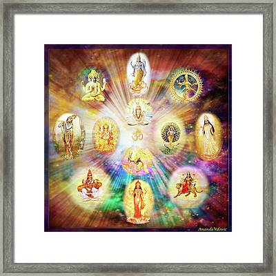 Purnamida Purnamidam - One Divine Source For All Gods And Goddesses Framed Print by Ananda Vdovic