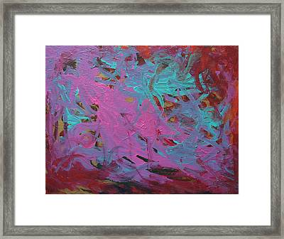 Purple  And Aqua Framed Print by Kitty Hansen