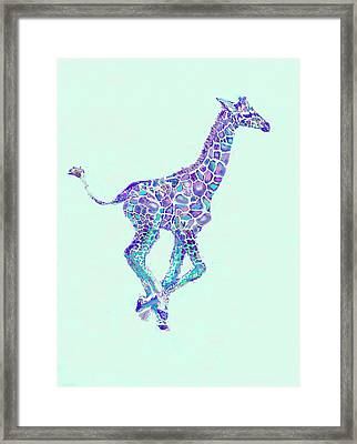 Framed Print featuring the digital art Purple And Aqua Running Baby Giraffe by Jane Schnetlage
