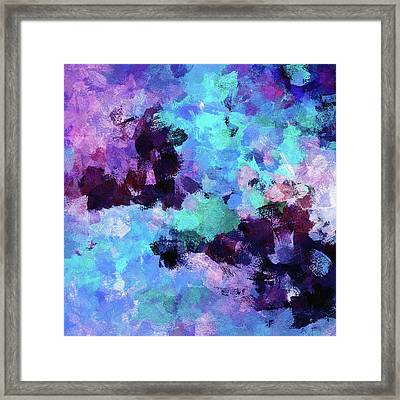Framed Print featuring the painting Purple And Blue Abstract Art by Ayse Deniz