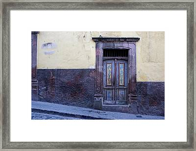 Purple And Blue Door Mexico Framed Print