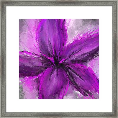 Purple And Gray Art Framed Print by Lourry Legarde