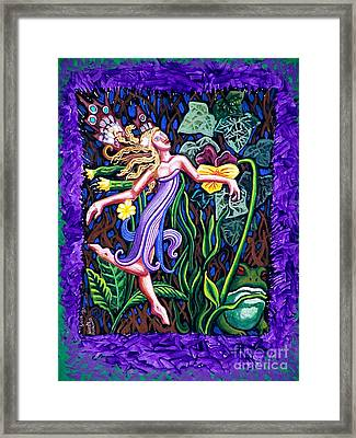 Purple And Green Fairy Framed Print by Genevieve Esson