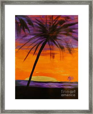 Purple And Orange Sky Framed Print by Marie Bulger