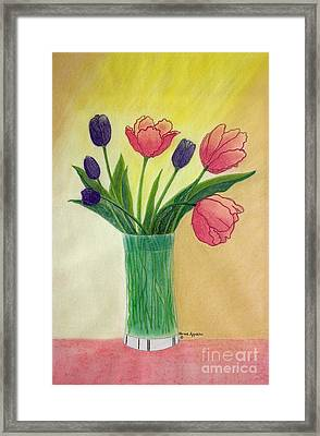 Purple And Pink Tulips Framed Print by Norma Appleton
