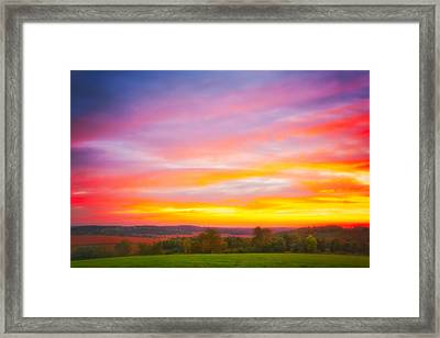 Purple And Red Fall Sunset At Retzer Nature Center - Wisconsin Framed Print