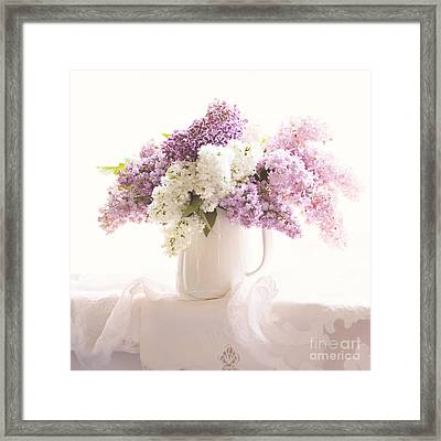 Framed Print featuring the photograph Purple And White Lilacs Still Life by Sylvia Cook