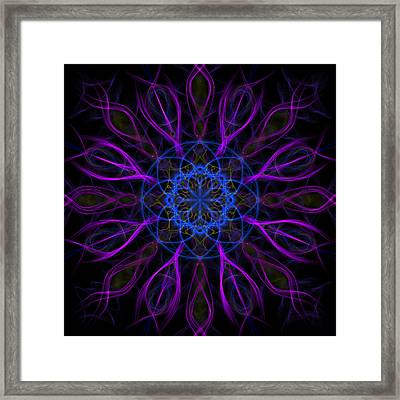 Purple Blue Kaleidoscope Square Framed Print