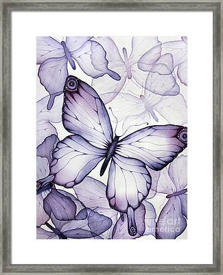 Purple Butterflies Framed Print by Christina Meeusen