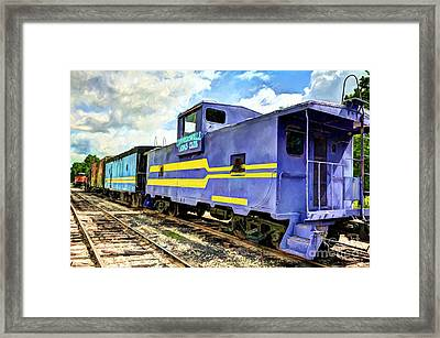 Purple Caboose Framed Print by Mel Steinhauer