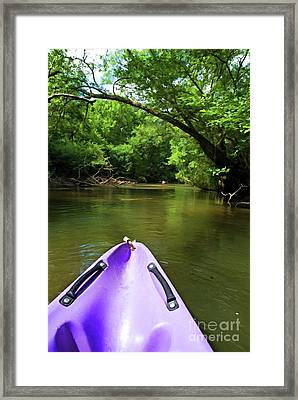 Purple Canoe On The Eyre River Framed Print by Sami Sarkis