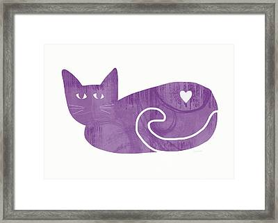Purple Cat- Art By Linda Woods Framed Print