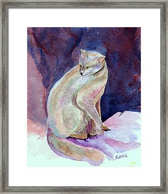 Purple Cat Framed Print by Susan Kubes