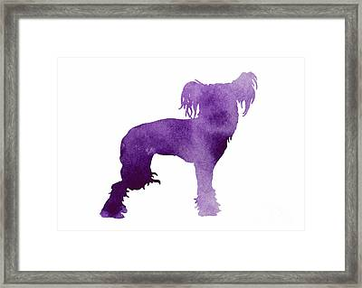 Purple Chinese Crested Dog Silhouette Framed Print