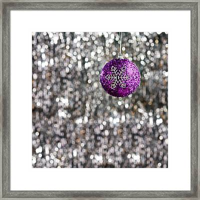 Framed Print featuring the photograph Purple Christmas Bauble  by Ulrich Schade