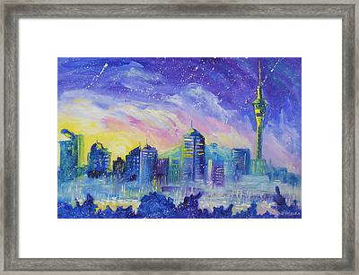 Purple City Framed Print