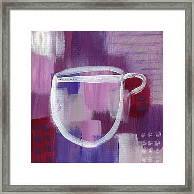 Purple Cup- Art By Linda Woods Framed Print by Linda Woods