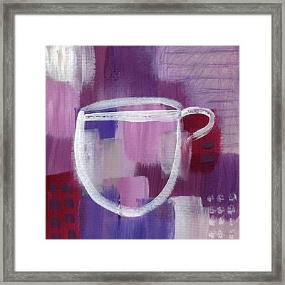 Purple Cup- Art By Linda Woods Framed Print