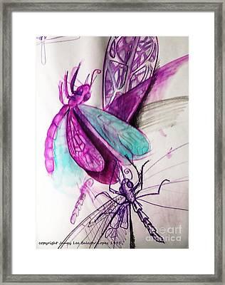 Purple Dragonflies Framed Print by Jamey Balester