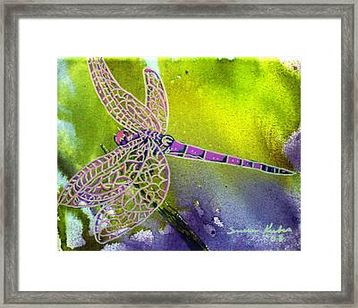 Purple Dragonfly Framed Print by Susan Kubes