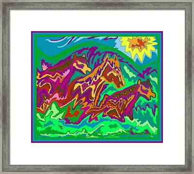 Framed Print featuring the digital art Purple Feathered Horses by Julia Woodman