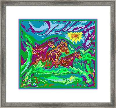 Framed Print featuring the digital art Purple Feathered Horses With Wider Surroundings by Julia Woodman