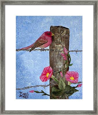 Framed Print featuring the painting Purple Finch And Morning Glories by Terri Mills