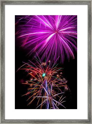 Purple Fireworks Framed Print