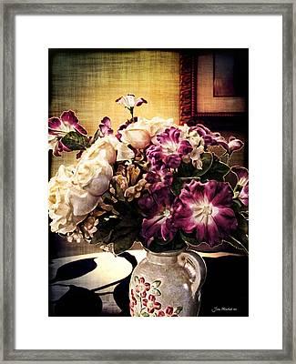 Purple Floral Arrangement Framed Print by Joan  Minchak