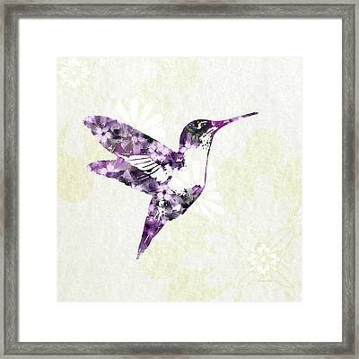 Purple Floral Hummingbird Art Framed Print