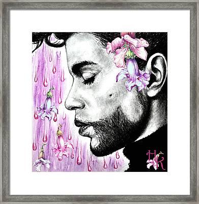 Purple Flower Rain  Prince, Roger Nelson Framed Print