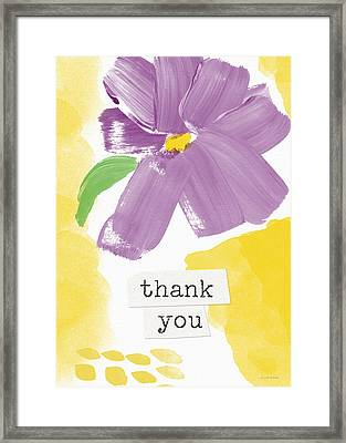 Purple Flower Thank You Card- Art By Linda Woods Framed Print by Linda Woods