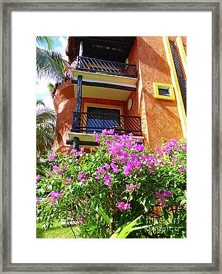 Framed Print featuring the photograph Purple Flowers By The Balcony by Francesca Mackenney